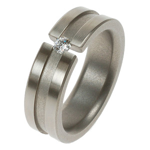 Titanium Ring Grey Stripe