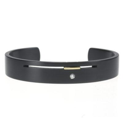 zwarte armband met diamant