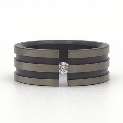 brede zwarte ring met diamant Raya