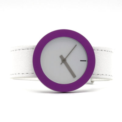 MV 34 Halo wit leer horloge